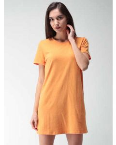 Orange Solid T-shirt Dress