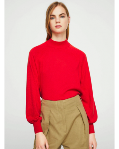 Women Red Solid High Neck Sweater