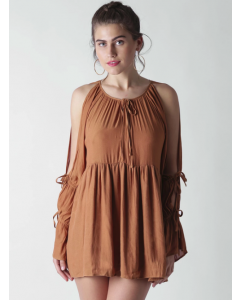 Brown Solid Mini A-Line Dress