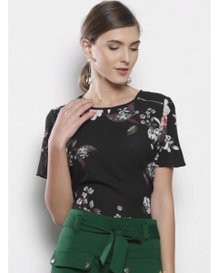 Women Black Trendy Floral Top