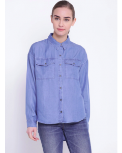 Blue Regular Fit Solid Denim Casual Shirt