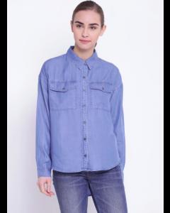 Blue Regular Fit Solid Denim Casual Shirt