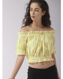 Women Yellow & Off-White Striped Bardot Top