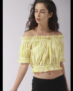Women Yellow & Off-White Striped Bardot Top