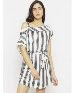 Women White Striped Drop-Waist Dress