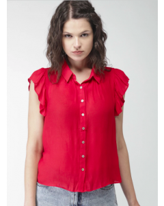 Red Regular Fit Solid Casual Shirt