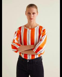 Women Orange & White Striped Top