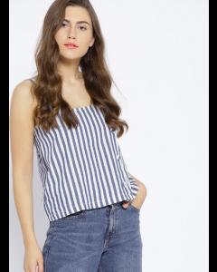 Women Blue & White Striped Boxy Top