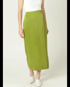 Green Solid Midi Wrap Skirt