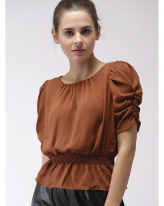 Premium Brown Solid Blouson Top
