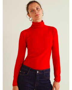 Women Red Self-Striped Pullover