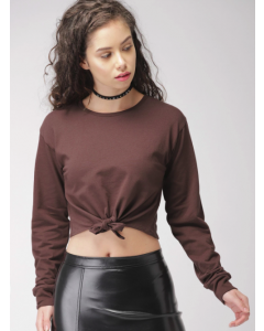 Premium Trendy Women Brown Solid Top