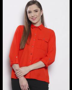 Orange Regular Fit Solid Casual Shirt