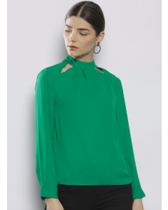 Women Petite Green Solid Top