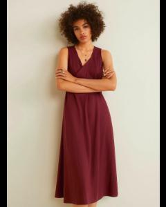 Brown Solid A-Line V-neck Dress