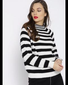 Women Black & White Striped Pullover