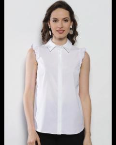 Women White Regular Fit Solid Sleeveless Shirt