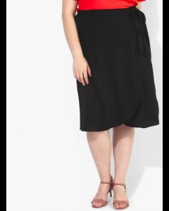 Curve Black Solid Pencil Skirt