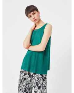 Women Green Solid A-Line Sleeveless Top