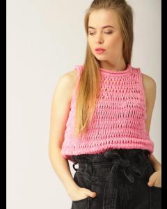 Pink Self Design Pullover
