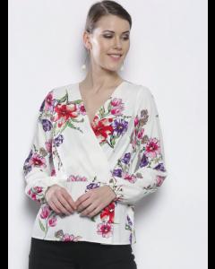 Women White & Pink Floral Wrap Top