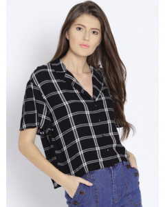 Women Black & White Regular Fit Checked Casual Shirt Regular price