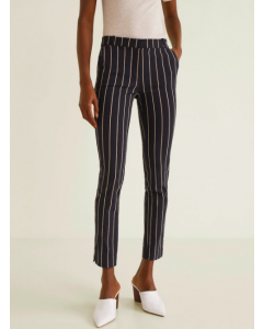 Black & Beige Regular Fit Striped Cropped Trousers