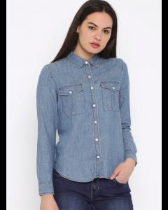 Women Blue Casual Long Sleeve Shirt