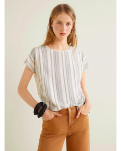Women Off-White Self-Striped Top