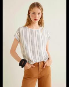 Women Off-White Self-Striped Top