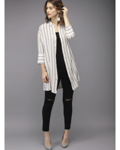 Women White & Black Regular Fit Striped Casual Longline Shirt