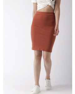 Brown Solid Knee-Length Pencil Skirt