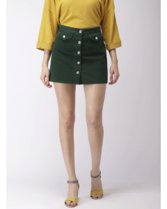 Green Solid Mini A-Line Denim Skirt