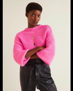 Women Pink Solid Round Neck Sweater
