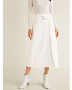 White Solid Layered Midi A-line Skirt