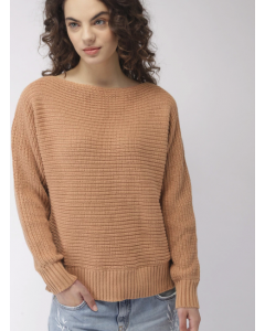 Brown Solid Boat Neck Sweater