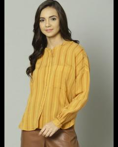 Women Mustard Striped Regular Fit Casual Shirt