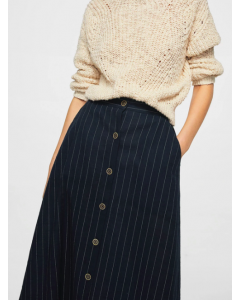 Navy Blue & White Striped Midi A-Line Skirt Regular price