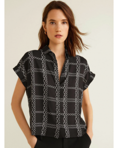 Women Black & White Regular Fit Checked Casual Shirt