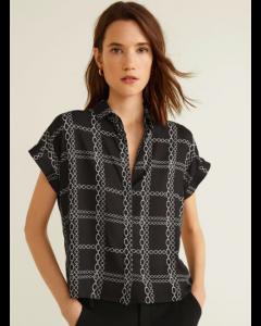 Women Black & White Regular Fit Checked Casual Shirt