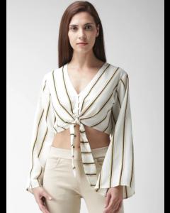 Women Off-White & Navy Striped Crop Top