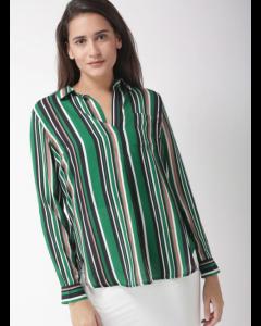 Green & Black Striped Semi-Sheer Shirt Style Top