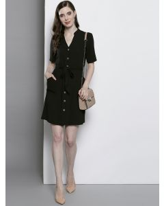 Trendy Black Solid V Neck Shirt Dress