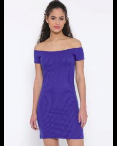 Women Blue Self-Striped Off-Shoulder Bodycon Dress