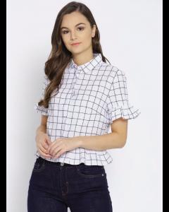 Women White Checked Casual Shirt
