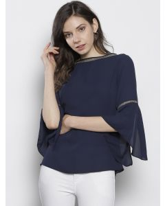 Women Navy Blue Solid Boat Neck Top