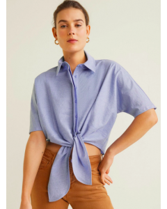 Women Blue Solid Front Tie-Up Crop Casual Shirt