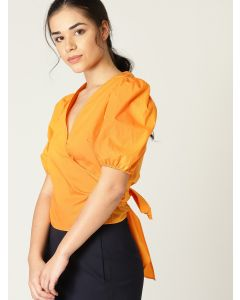 Women Orange Solid Wrap  V neck Top