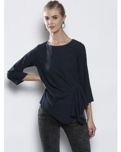 Women Navy Blue Solid Pleated Top
