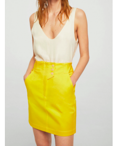 Yellow Solid Mini Straight Skirt Regular price